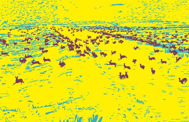 10 jahre massaker druckgrafik von Friederike Hinz gelb-rot-blau