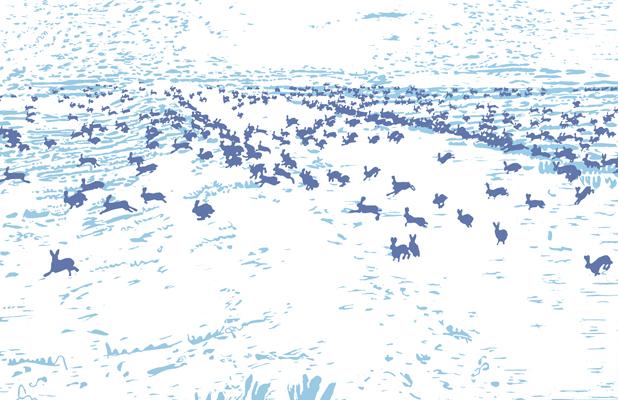 10 jahre massaker druckgrafik von Friederike Hinz weiß-blau-blau
