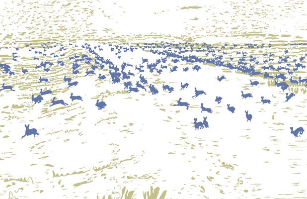 10 jahre massaker druckgrafik von Friederike Hinz weiß-blau-grün
